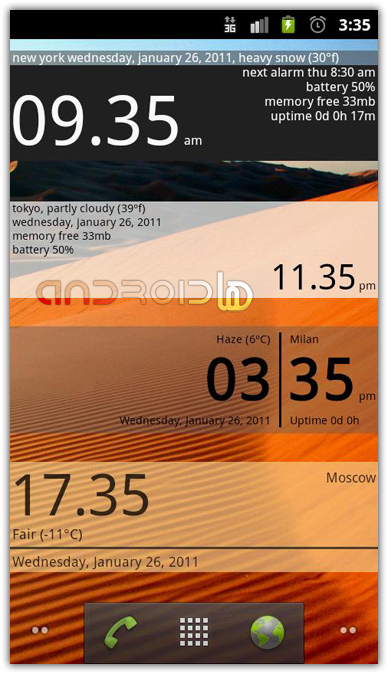 ابزار ساعت با  Advanced Clock Widget Pro v0.601