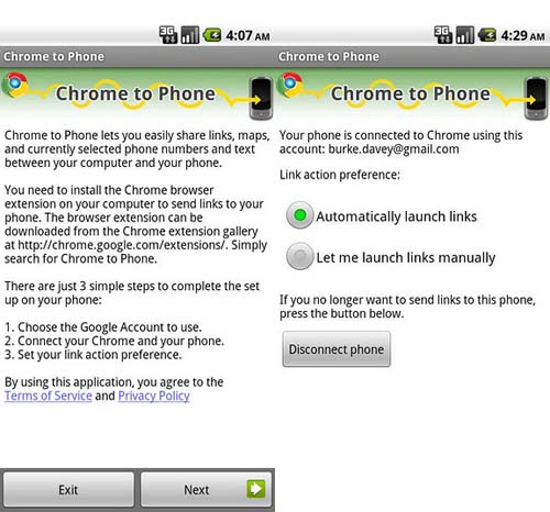 Google Chrome to Phone 2.3.0