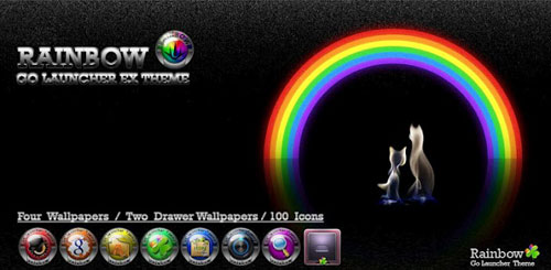 Rainbow Go Launcher theme v1.3