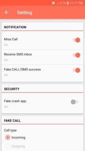 تصویر محیط Fake Call & SMS v4.0.8