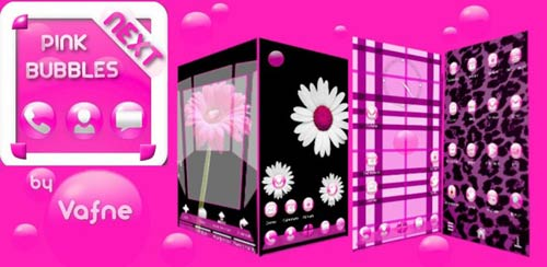 Pink Bubbles Next Launcher 3D v1.1