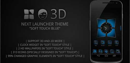Next launcher theme Soft Blue – v5.1