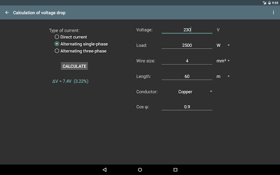 Electrical calculations PRO v6.3.2