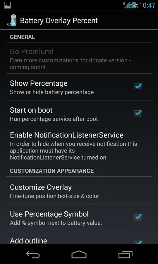 Battery Overlay Percent Premium v1.0.5.22