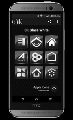 ۳K Glass White – Icon Pack v1.2.4