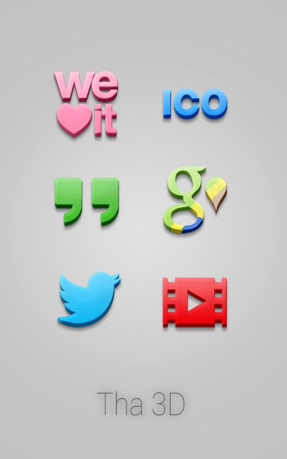 Tha 3D – Icon Pack v3.4