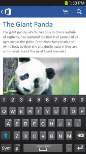 تصویر محیط Microsoft Office Mobile v16.0.11629.20124