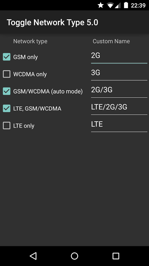 Toggle Network Type 5.0 – 2G, 3G, LTE