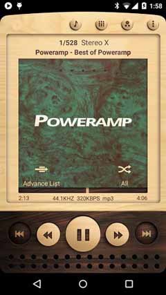 Poweramp skin Wooden v1.0.2