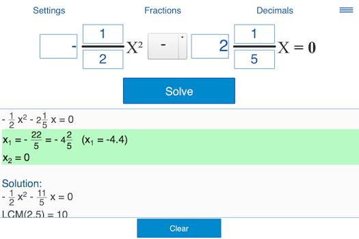 Quadratic equations calculator v2.0.3