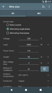تصویر محیط Electrical calculations PRO v7.9.1