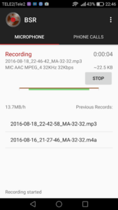 تصویر محیط Background Sound Recorder v2.45