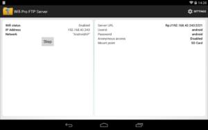 تصویر محیط WiFi Pro FTP Server v1.9.1