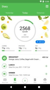 تصویر محیط Runtastic Balance Calorie Calculator, Food Tracker v1.30