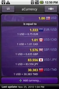 تصویر محیط aCurrency Pro (exchange rate) v5.16