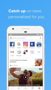 تصویر محیط Opera browser beta v61.2.3076.56749