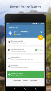 تصویر محیط Remote Bot for Telegram Premium v1.9.42