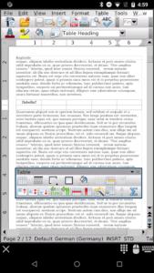 تصویر محیط AndrOpen Office v4.4.0